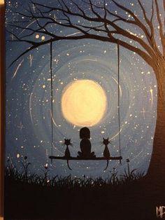 30 Best Canvas Painting Ideas for Beginners - Nezih D. - - 30 Best Canvas Painting Ideas for Beginners - Nezih D. Art And Illustration, Best Canvas, Beginner Painting, Painting Ideas For Beginners, Easy Sketches For Beginners, Moon Art, Moon Moon, Stars And Moon, Oeuvre D'art