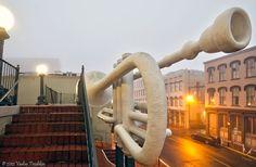 Trumpet sculpture at Old Galveston Square