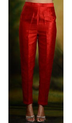 Look 1 - This is it but skinnier at the bottom - Red Skinny Cigarette TrousersSkinny pants and cigarette trousers in silk, cotton and lycra.Kaneesha Launches High Fashion Dresses for Mainstream US Customerssilk boxer shorts can come in a variety of d Kurta Designs Women, Salwar Designs, Kurti Designs Party Wear, Blouse Designs, Silk Kurti Designs, Lehenga Choli, Anarkali, Churidar, Indian Salwar Kameez