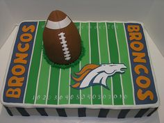 Denver Broncos 12 X 18 frosted with buttercream and fondant accents. Handcut Bronco from fondant. Football is made of RKT. Wedding Cake Designs, Wedding Cake Toppers, Wedding Ideas, Wedding Cakes, Fancy Cakes, Cute Cakes, Pink Cakes, Denver Broncos Cake, Armadillo Cake