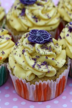 Violet Cupcakes with Fluffy Lemon Buttercream