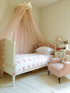 sweet shabby chic room with a cute canopy! Love for Katie, trundle bed would fit too!