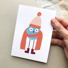 This is Willi, our winter bird. Postcards, Playing Cards, Poster, Etsy, Vintage, Craft Gifts, Playing Card Games, Vintage Comics, Game Cards