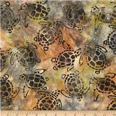 Michael Miller Batik Sea Turtles Olive