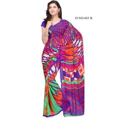 Ravishing beautiful multi color printed saree  - Online Shopping for Georgette Sarees by danifashions