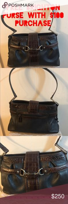 "♨️♨️ Free Brighton Purse with $100 Purchase ♨️♨️ Free Brighton Purse with $100  purchase. What an awesome deal.  Purse pictured is the one you get.  Next person to spend $100 gets this pretty Brighton black & brown leather purse. Purse is in good condition with normal wear from use. Purse is 11"" W & 8"" H.  Only one purse available so if you make a $100 purchase tag me on this listing so I will know & also others the purse is no longer available. ❌❌purse is not for sale only listed available…"