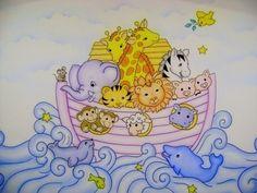 Resultado de imagem para bebe na arca de noé com bichinhos pintura
