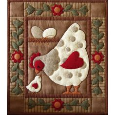 Applique Quilt Patterns | The Spotty Hen Wall Quilt Kit is a new Applique Quilt pattern & fabric ...