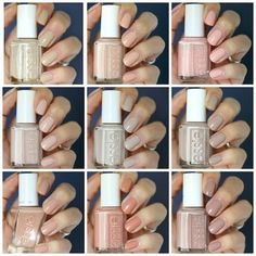 Essie Nude Comparison: Topless & Barefoot, Sand Tropez, Lady Like, Wild Nude, Cocktails Essie Nail Polish Colors, Neutral Nail Polish, Essie Nail Colors, Natural Nail Polish Color, Soft Gel Nails, White Nail Polish, Best Nail Polish, Pink Nail, Nail Ideas