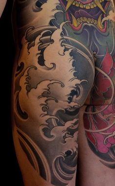 Body Tattoo Design, Buddha Tattoo Design, Full Body Tattoo, Body Tattoos, Arm Tattoo, Sleeve Tattoos, Japanese Wave Tattoos, Japanese Waves, Japanese Tattoo Designs