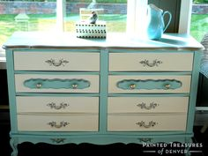 """Dresser makeover with Heirloom Tradition's Sea Green & A LA Mode chalk type paints, and Best Top Coat. Copy these colors with paints and supplies  from http://heirloomtraditionspaint.mybigcommerce.com/ with coupon code """"PAINTEDTREASURES"""""""