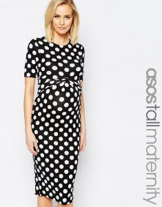 ASOS Maternity TALL Bodycon Dress In Spot With Cross Front - Black/off white