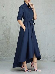 Women Solid Color Pleated Asymmetrical Tie Waist Maxi Dresses – swellshe Women Dresses for all occassins to buy online Belted Shirt Dress, Collar Dress, Dress Skirt, Navy Dress, Elegant Dresses, Sexy Dresses, Dresses For Work, Formal Dresses, Wedding Dresses