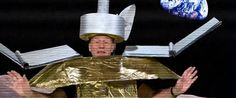 """Stewart suited up in a delightfully cheesy combination of cardboard and tin foil to """"play"""" Jade Rabbit, and he sang a quick ditty to say goo..."""