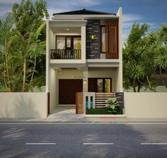 conception de maison extérieure minimaliste incroyable sur un budget Two Story House Design, 2 Storey House Design, Simple House Design, Bungalow House Design, House Front Design, Tiny House Design, Modern House Design, Modern Minimalist House, Modern Tiny House