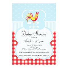 Cute Farm Roaster Baby Shower Invitation