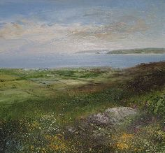 A View to Remember, Godrevy Lighthouse from Zennor by British Contemporary Artist Amanda HOSKIN