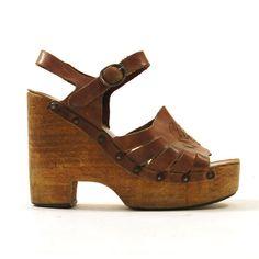 70s Wooden Platform Wedge Sandals / Clogs / by SpunkVintage, $78.00