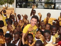 Athlete Ambassador and Olympic Bronze medalist Mellisa Hollingsworth with Right To Play program participants in Ghana (2008).