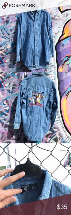 Men's vintage retro Looney tunes Jean long sleeve Preown great condition men's looney tunes jean long sleeve button down. All buttons in intact. No rips, stains, holes, tears it imperfections. Perfect to add to your Disney collection. Looney tunes characters on the back are embroiled. Disney Shirts Casual Button Down Shirts