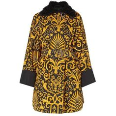 Preowned Versace Gold & Black Printed Coat, Autumn/winter 1991 ($4,073) ❤ liked on Polyvore featuring outerwear, coats, black, versace coat, brocade coat, pattern coat, versace and print coat
