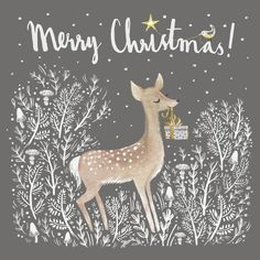 New Diy Christmas Cards Drawing Happy Holidays Ideas Christmas Deer, Merry Little Christmas, Vintage Christmas Cards, Christmas Pictures, Christmas Greetings, Winter Christmas, Illustration Noel, Christmas Cards Illustration, Diy Weihnachten