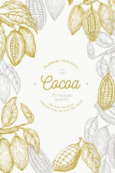 Cocoa, Chocolate Art, Chocolate Powder, Spices Packaging, Logo Cookies, Tree Illustration, Illustrations, Graphic Design Trends, Food Drawing