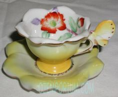 Occupied Japan Flower Cup and Saucer with Butterfly Handle