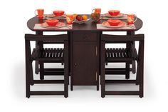 Buy Folding dining Table Set Online| 4 Seater Wooden Dining Set | Ekbote Furniture India