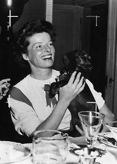 Katharine Hepburn and doxie