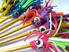Monster Pencil Topper set of Four, Felt Pencil Toppers, Monster Party Favor Pencils by CurlyTailCrafts on Etsy Art For Kids, Crafts For Kids, Arts And Crafts, Foam Crafts, Easy Crafts, Monster Party Favors, Pen Toppers, Pencil Crafts, Fete Ideas