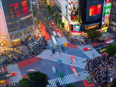 """The famous """"scramble"""" crossing in Shibuya, Tokyo. When I lived in Tokyo, I made the rounds of Shibuya's record shops almost every Saturday."""