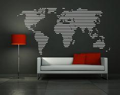 """Wall Decal Vinyl Sticker Home Decor Modern Art Mural """" WORLD MAP """" 45.3'' x 90.6"""". $115.00, via Etsy."""