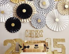 READY TO SHIP! Gold Glitter 2015 New Year's Eve party decorations || Set of 4