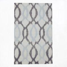 Ikat Links Wool Rug - Frost Gray   west elm...framed wall art for new duvet?