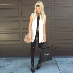 belt + black distressed jeans (jbrand) + black buckled ankle booties (jimmy choo) + black high neck shell You May Also LikeWhat's HOT Best Street Style, Street Style Outfits, Cool Outfits, Casual Outfits, Fashion Outfits, White Vest Outfit, Blazer Outfits, Looks Style, Casual Looks