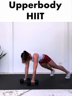 Get a fit and toned upper body and burn some serious calories with this fat blasting Upperbody HIIT routine. Get a fit and toned upper body and burn some serious calories with this fat blasting Upperbody HIIT routine. Hiit Workouts At Gym, Upper Body Hiit Workouts, Hiit Workouts With Weights, Hiit Workout Videos, Hiit Workouts For Beginners, Hiit Workout At Home, Workout Plans, Fitness Exercises, Hiit Abs