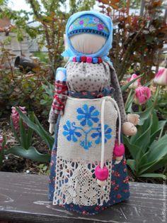 """Купить """"Берегиня дома"""" кукла-оберег. - голубой, народная кукла, тряпичная русская кукла"""