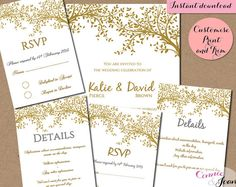 DIY editable and printable Wedding Invitation, RSVP and Information Template Gold Leaves | Editable Wedding template invitation Microsoft Word