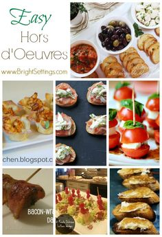 Hors d'oeuvres - Keep your stress level to a minimum just before your next event. Cutting down the prep time for the hors d'oeuvres will allow you to devote more time to other party prep activities. Here are some easy, delicious hors d'oeuvres and appetizers to inspire you!