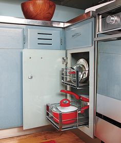 cabinet organization - drawers for pots and pans.
