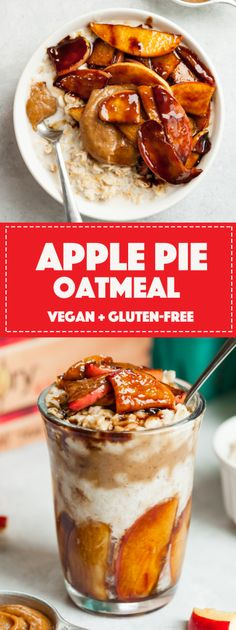 Scrumptious apple pie oatmeal jars layered with creamy peanut butter caramel. Easy, healthy, vegan, and perfect for meal prep! Oatmeal In A Jar, Apple Pie Oatmeal, Oatmeal Recipes, Peanut Butter Roll, Creamy Peanut Butter, Vegan Lunches, Vegan Foods, Vegan Desserts, Healthy Vegan Breakfast