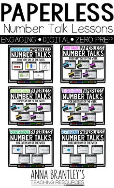 One of the greatest challenges for teachers beginning Number Talks is the time it takes choosing problem strings that make sense and build on each other. PAPERLESS Number Talks takes care of this for you! All grades are available. Number Talks Kindergarten, Teaching Math, Kindergarten Math, Teaching Ideas, Fourth Grade Math, First Grade Math, Grade 2, Third Grade, Math Stations
