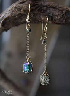 Titanium and Pyrite Drusy Earrings by ATELIERGabyMarcos on Etsy, $39.00