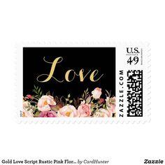 Gold Love Script Rustic Pink Floral Postage