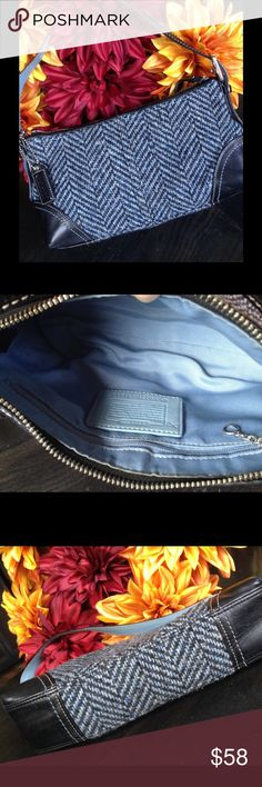 Fabulous Coach Hamptons Tweed Purse Fabulous Coach mini purse. Hamptons Herringbone tweed style. Blue & black herringbone fabric with black leather trim. Clean, blue fabric interior has one zippered pocket. Exterior shows very minor wear from normal use. Coach Bags Mini Bags