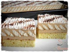 Réteges piskótaszelet | TopReceptek.hu Hungarian Desserts, Hungarian Cake, Hungarian Recipes, Cold Desserts, Pudding Desserts, Puding Cake, Cake Recipes, Dessert Recipes, Cake Bars