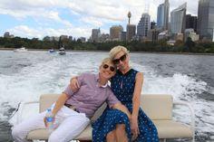 Ellen and Portia cruise the harbor