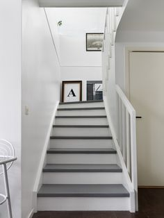 Grey and white stairs. grey/white staircase walls and halls home in 2019 wh Wood Stair Treads, Wood Stairs, White Staircase, Staircase Design, Staircase Walls, Entry Stairs, House Stairs, Hallway Inspiration, Painted Stairs