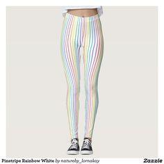 Pinstripe Rainbow White Leggings